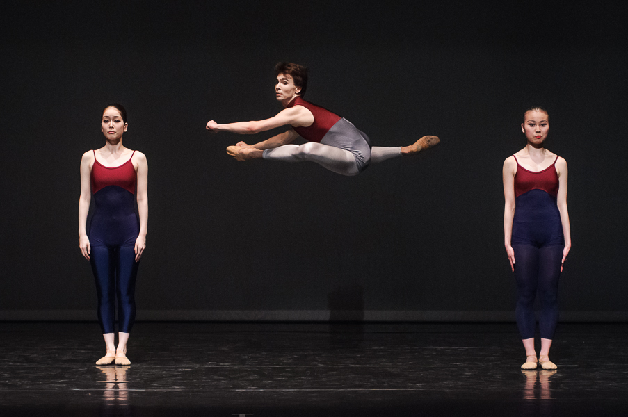 "Photo of Dancers Benjamin Birkner, Akemi Ueda, and Yuriko Sakai of B&M Dance Company in Ada Ramzews' modern choreography ""WWerkstatt"""